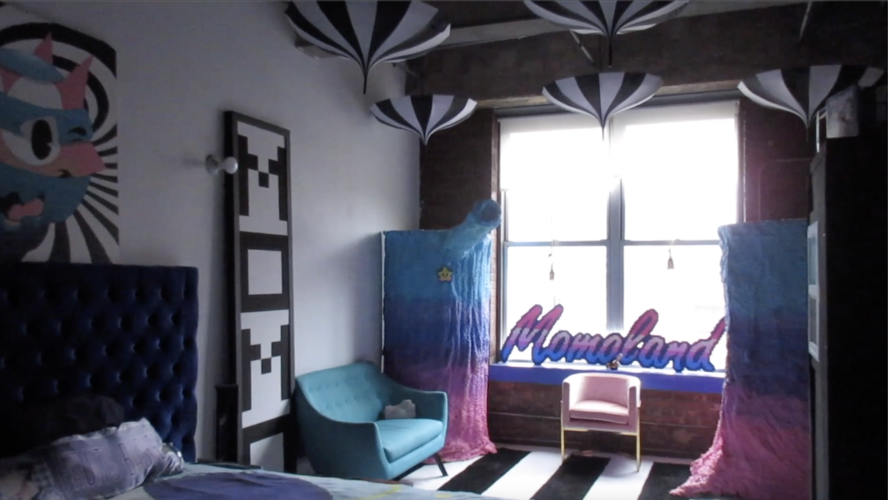 "A still image of Momo Pixel's studio in the ""In the Studio"" video."